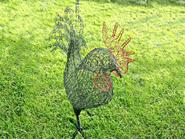 Cockerel wire sculpture by Lindsay Waring